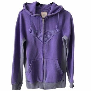 Roxy Purple Zip Up Hooded Sweater small
